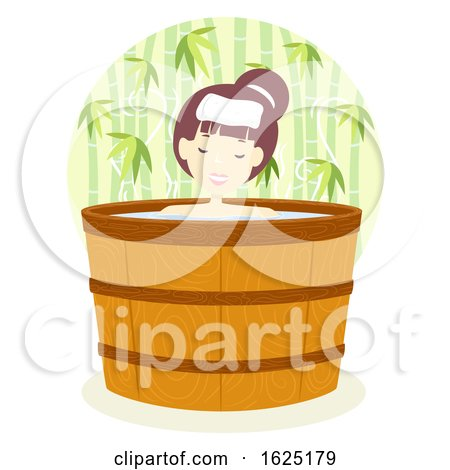 Girl Onsen Bath Barrel Outdoor Illustration by BNP Design Studio