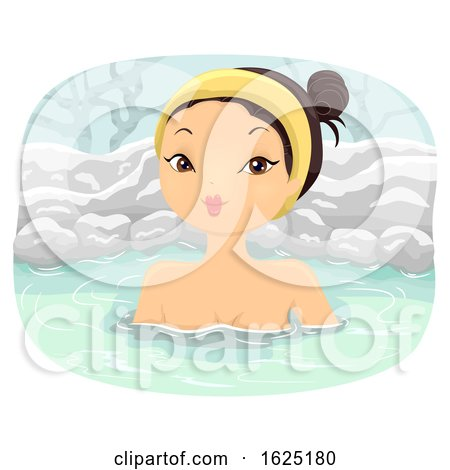 Girl Winter Snow Onsen Bath Illustration by BNP Design Studio