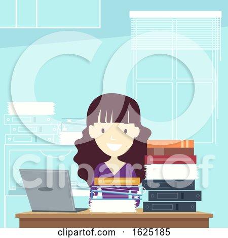 Girl Teacher Laptop Books Faculty Room by BNP Design Studio