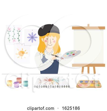 Girl Art Teacher Canvass Illustration by BNP Design Studio