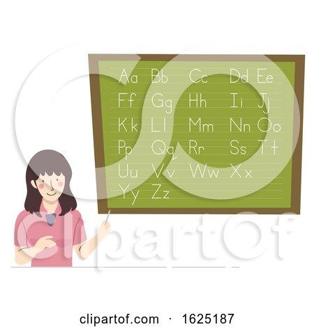 Girl Teacher Blackboard Alphabet Illustration by BNP Design Studio