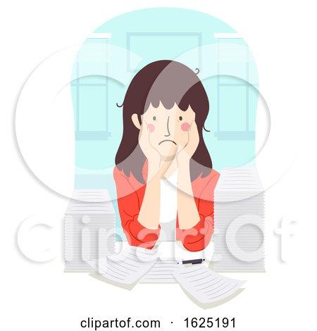 Girl Teacher Stressed Papers Illustration by BNP Design Studio