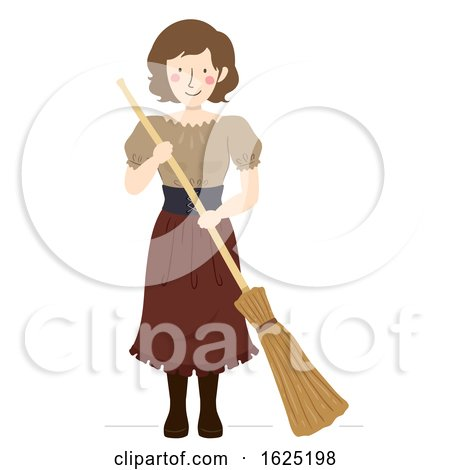Girl Medieval Peasant Broom Illustration by BNP Design Studio