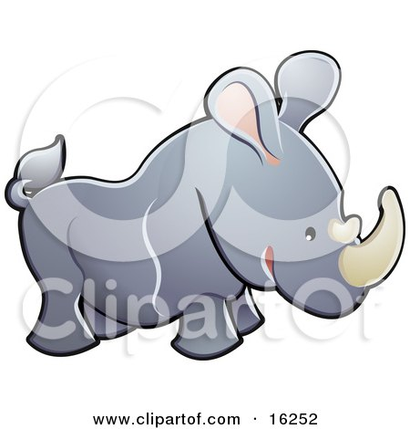 Adorable Gray Rhino With Pink Ears And White Horns Clipart Illustration by AtStockIllustration