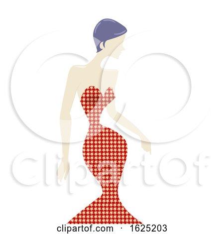 Girl Houndsooth Pattern Dress Illustration by BNP Design Studio