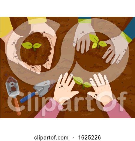 Hands Kids Plant Top View Illustration by BNP Design Studio