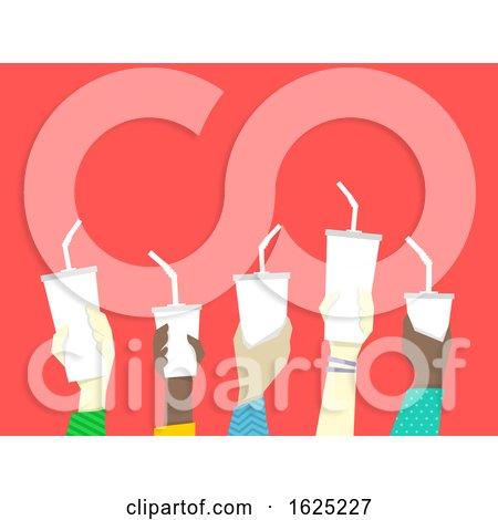 Hands Drinks Straws Illustration by BNP Design Studio