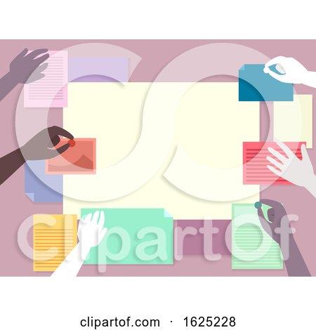 Hands Community Bulletin Board Illustration by BNP Design Studio