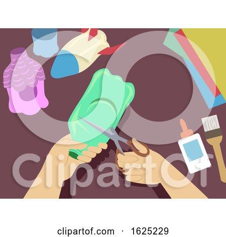 Hands Bottle Bird House Illustration by BNP Design Studio