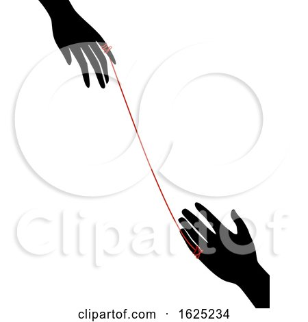 Hands Red String Fate Illustration by BNP Design Studio