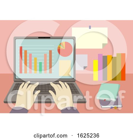 Hands Laptop Accounting Illustration by BNP Design Studio