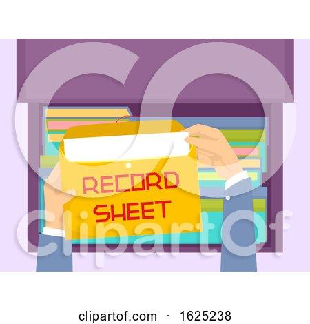 Hands Envelope File Record Sheet Illustration by BNP Design Studio