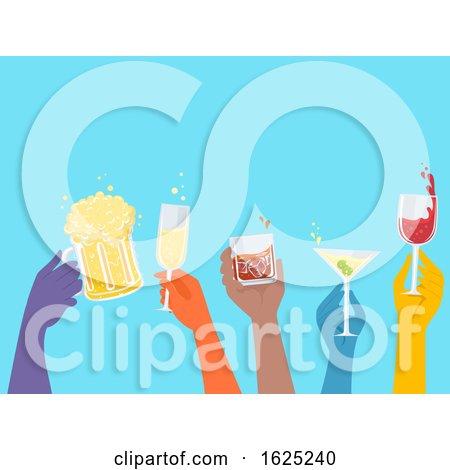 Hands Alcoholic Drinks Glasses Illustration by BNP Design Studio