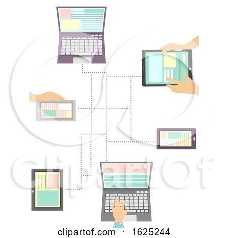 Hands Mobile Laptop Media Connection Illustration by BNP Design Studio