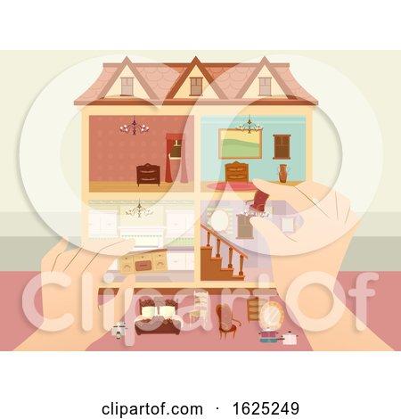 Hands Doll House Arrange Illustration by BNP Design Studio