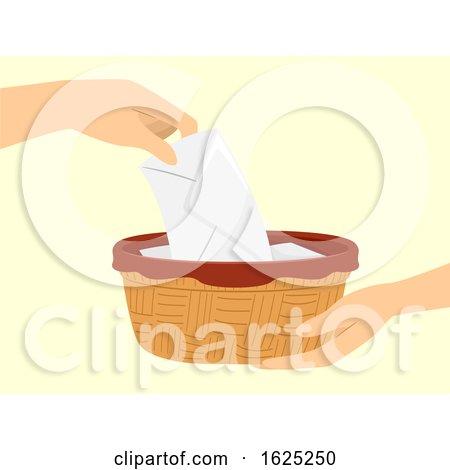 Hands Mass Collection Offering Basket Illustration by BNP Design Studio