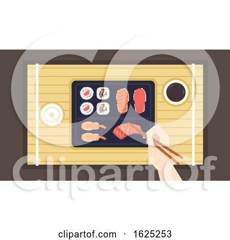 Hand Chopsticks Sushi Illustration by BNP Design Studio