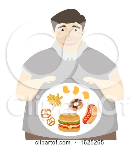 Man Big Tummy Junk Foods Illustration by BNP Design Studio