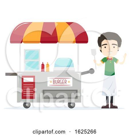 Man Burger Cart Vendor Illustration by BNP Design Studio
