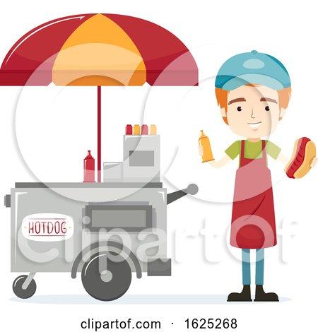 Man Hotdog Sandwich Vendor Illustration by BNP Design Studio