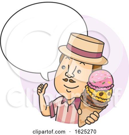 Man Ice Cream Speech Bubble Illustration by BNP Design Studio