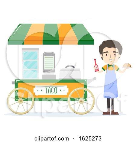 Man Taco Cart Vendor Illustration by BNP Design Studio