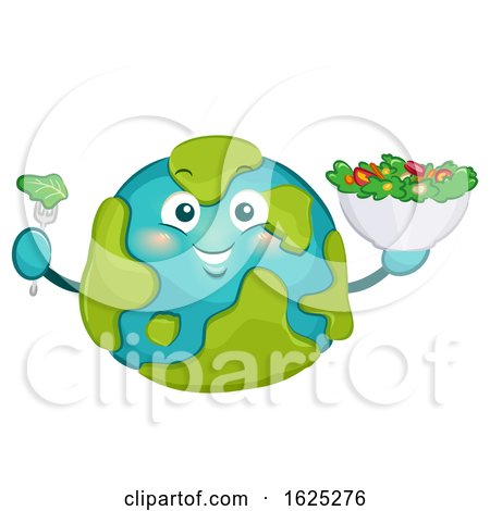 Mascot Big Earth Eat Salad Illustration by BNP Design Studio