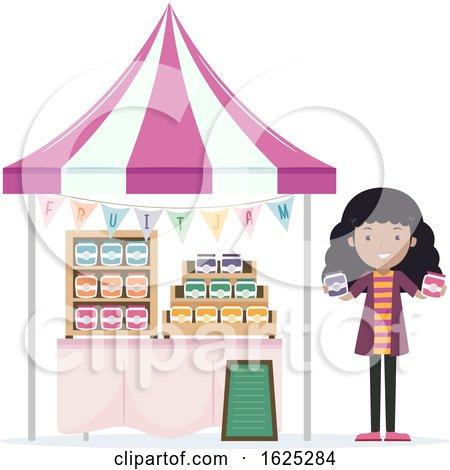 Girl Fruit Jam Vendor Illustration by BNP Design Studio