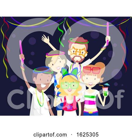 Friends Glow in the Dark Party Illustration by BNP Design Studio