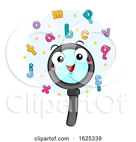 Mascot Magnifying Glass Find Words Letters by BNP Design Studio