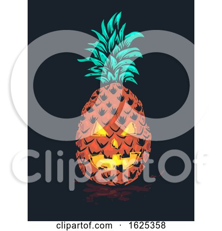 Halloween Tropical Pineapple Monster Illustration by BNP Design Studio
