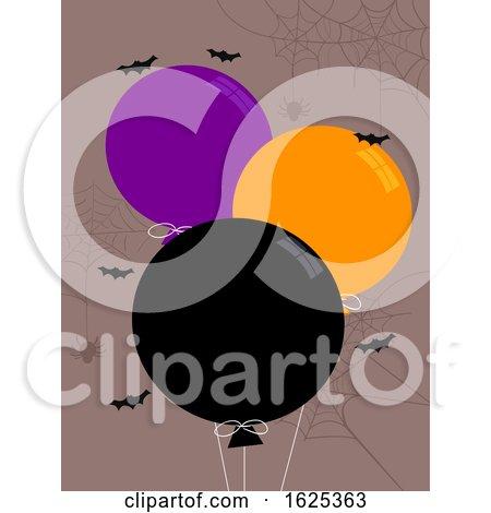 Halloween Balloon Orange Purple Black Bats by BNP Design Studio
