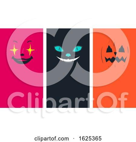 Halloween Faces Cat Pumpkin Clown Illustration by BNP Design Studio