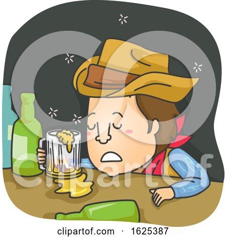 Man Cowboy Drunk Illustration by BNP Design Studio