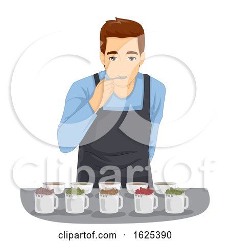 Tea Tasting Man Illustration by BNP Design Studio