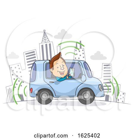 Self Driving Car Drive Man Illustration by BNP Design Studio