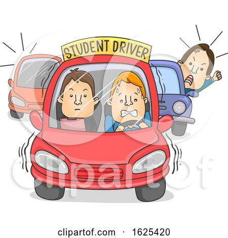 Man Car Student Driver Illustration by BNP Design Studio
