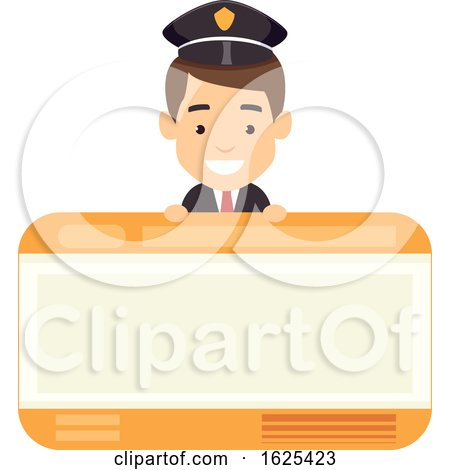 Man Train Ticket Card Illustration by BNP Design Studio