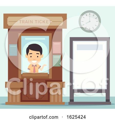 Man Train Ticket Office Board Illustration by BNP Design Studio