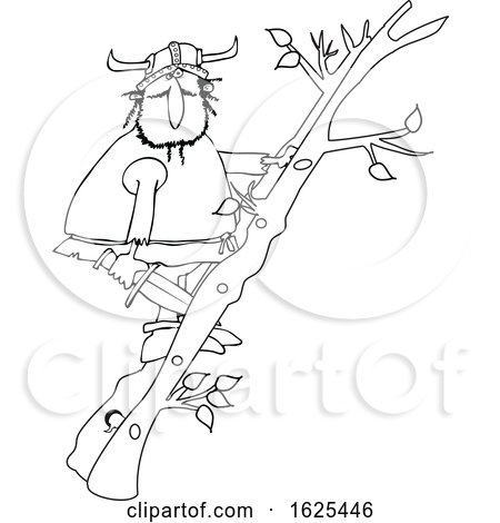Cartoon Black and White Viking Climbing a Ladder Made of Tree Branches by djart