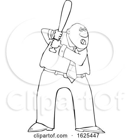 Cartoon Lineart Tough Black Business Man Batting in a Baseball Game by djart