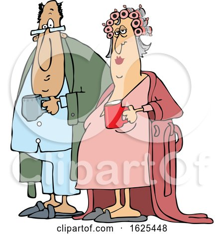 Cartoon Chubby White Couple in Robes and PJs Holding Their Morning Coffee Mugs by djart