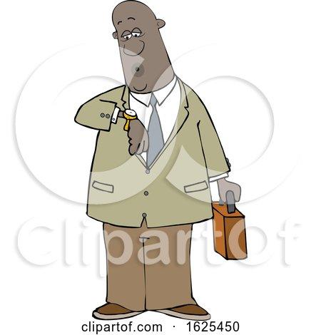 Cartoon Black Business Man Checking His Watch by djart