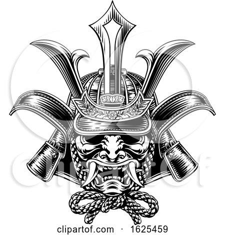 Samurai Mask Japanese Shogun Warrior Helmet by AtStockIllustration