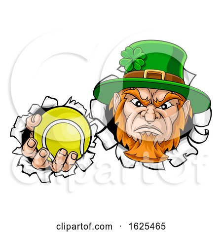 Leprechaun Tennis Mascot Ripping Background by AtStockIllustration