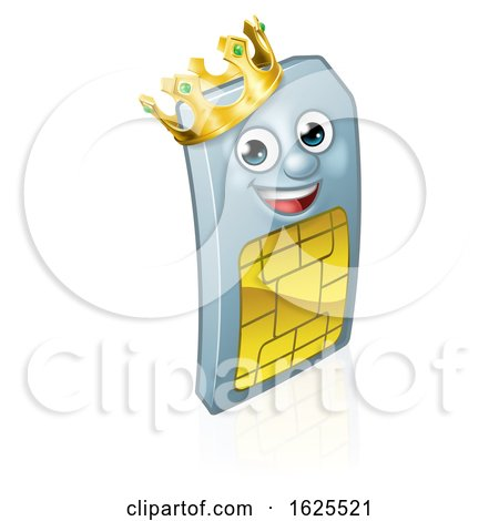 Sim Card King Mobile Phone Cartoon Mascot by AtStockIllustration
