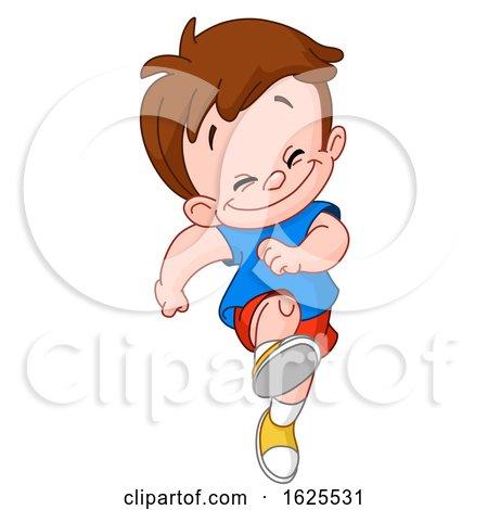 Cartoon Happy White Boy Skipping by yayayoyo
