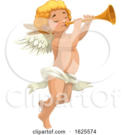 Cupid or an Angel Blowing a Horn by Vector Tradition SM