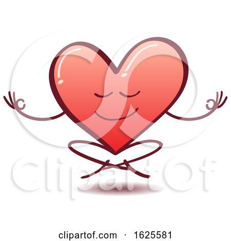 Cartoon Love Heart Meditating by Zooco