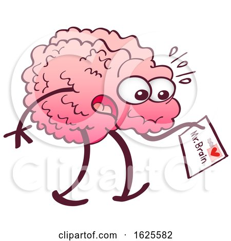 Cartoon Brain Receiving a Letter from the Heart by Zooco